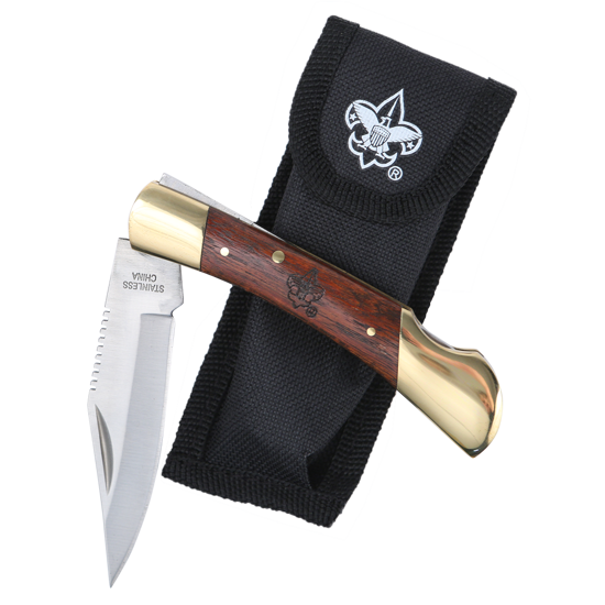 """Picture of 4"""" Brass & Rosewood Knife w/ Case & BSA® Branding"""